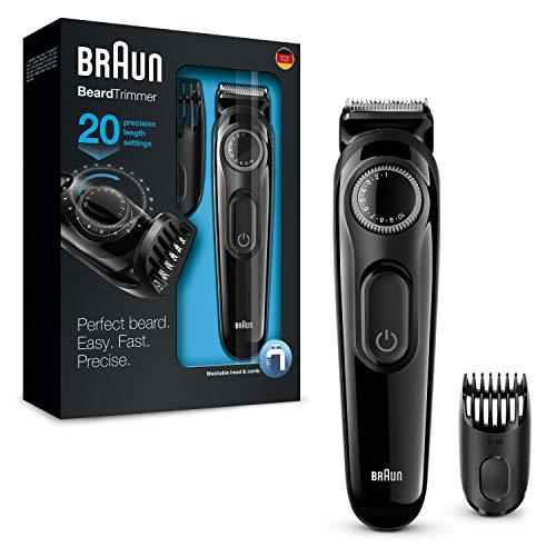 Braun BeardTrimmer BT3022 - Máquina Cortar Pelo, Recortadora Barba y Cortapelos, con Cuchillas Afiladas de Larga Duración, Color Negro