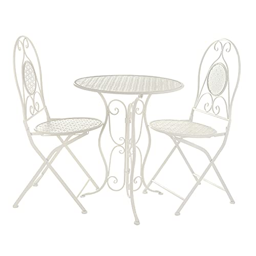 Set da giardino tavolino e 2 sedie pieghevoli in ferro bianco Bianco