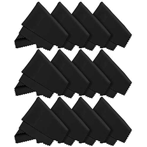 12x LetsSwipeThat Mikrofasertücher - 20x20 cm Mikrofaser Brillenputztuch. Kamera Objektiv Microfaser Reinigungstücher. LCD, Led TV Bildschirm Microfasertuch Reinigung. Laptop pc Display Reiniger Tuch