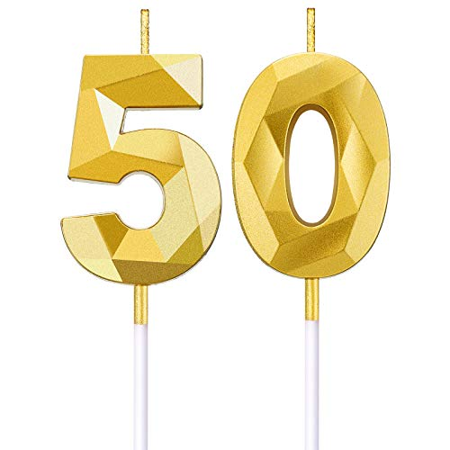 BBTO 50th Birthday Number Candles 3D Diamond Shape Cake Candles Number 50 Cake Topper Decoration for Birthday Wedding Anniversary Celebration Supplies, Gold