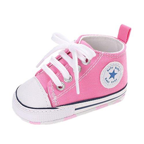 Auxma Zapatos Para Bebé Zapatilla de Deporte Antideslizante del Zapato de Lona de La Zapatilla de Deporte Para 3-6 6-12 12-18 M (6-12 M, Rosado)