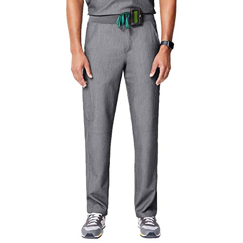FIGS Axim Cargo Scrub Pants for Men – Structured Fit, Super Soft Stretch, Anti-Wrinkle Medical Scrub Pants (Graphite, M)