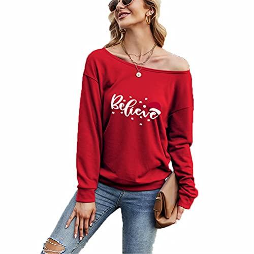 ZFQQ Otoño Camiseta Suelta sin Tirantes de Manga Larga con Hombros Inclinados y Color sólido navideño para Mujer