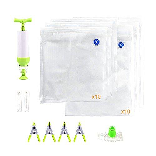 Locisne Sous Vide Bags Kit für Anova Joule 20pcs 2 Größen BPA Free Vakuum Sous Vide Sealed Taschen + 1 Handpumpe + 2 Beutel Sealing Clips + 4 Sous Vide Clips + 1 Weinflasche Sealer