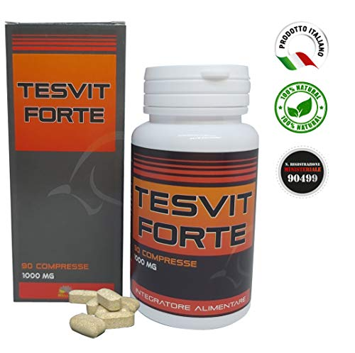 TESVIT FORTE Testosterone Naturale Aumenta la Resistenza Fisica e la Massa Muscolare Vasodilatatore Migliora la Libido e le Prestazioni Sessuali Made in Italy