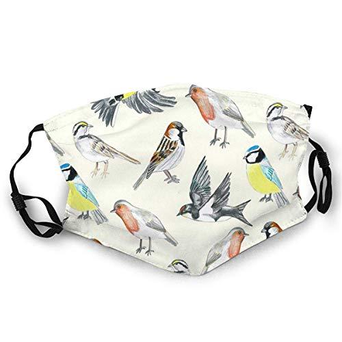 Mundschutz mit frei verstellbarer Kopfbedeckung Illustrierte Vögel Sun Proof Bandana Kopfbedeckung Gesichtsschutz Staubschutz mit zwei austauschbaren Filtern