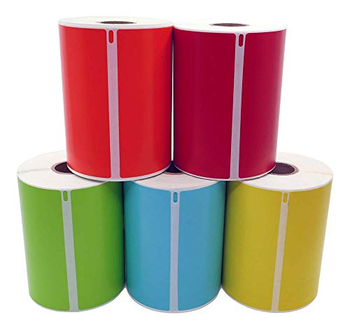 """Compatible with DYMO 1744907 4XL 5 Rolls Total:1 roll Each of RED, Blue, Yellow, Green, Orange. 220 Labels per Roll of Multipurpose High Visibility Labels (4"""" x 6"""") 4x6- BPA Free! Ships Fast!"""