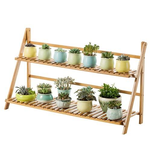 PQXOER Organizador de almacenamiento para plantas, macetas, estante de bambú, estante de almacenamiento de flores (tamaño: 70 cm, color: 4 capas)
