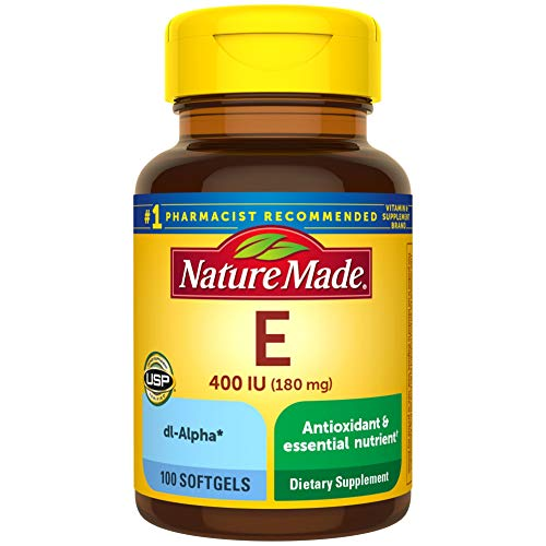 Nature Made Vitamin E 180 mg (400 IU) dl-Alpha Softgels, 100 Count for Antioxidant Support (Pack of 3)