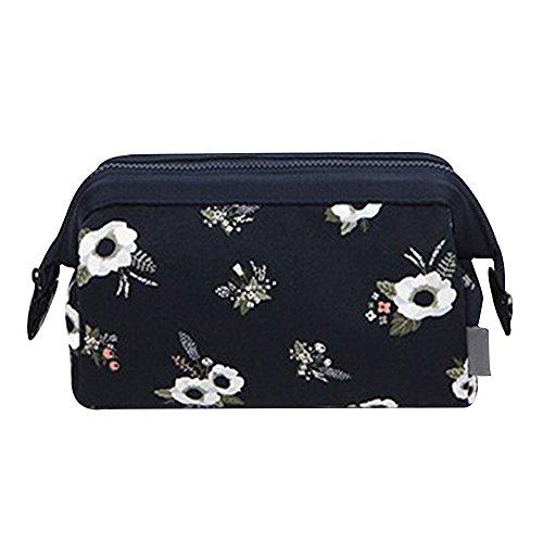 Contever® Sac à Maquillage Cosmétique Multifonction Portable Travel Toiletry Organizer 16*13*9cm - Fleur Bleue