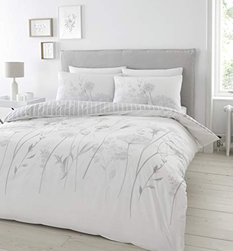 Catherine Lansfield Meadowsweet Floral Easy Care Single Duvet Set White/ Grey