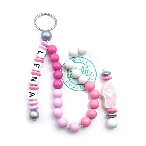 LALALO Mädchen Rechenkette mit Namen, Kette für die Grundschule / Schulanfang, Lernmittel rechnen bis 20 mit Schlüsselring (Prinzessin, Rosa)