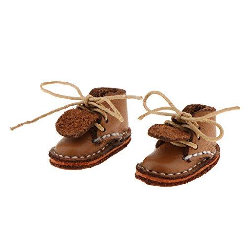 SM SunniMix PU Leder Stiefeletten Schuhe Für 12 Zoll Puppen, Für Blythe Pullip, Für 1/6 DOD MSD BJD Casual Dress Up - Khaki