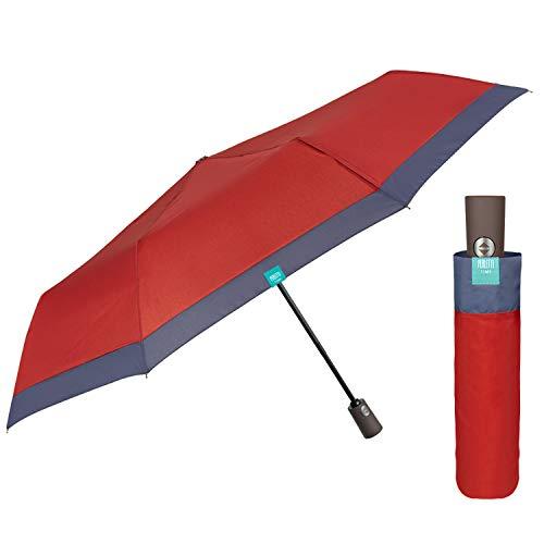 Paraguas Mujer Plegable Abre y Cierra Automático - Sombrilla Lluvia Resistente Cortaviento Coloreado - Paraguas Pequeño Compacto Práctico para Chicas - Diámetro 98 cm PERLETTI (Rojo Borde Azul)