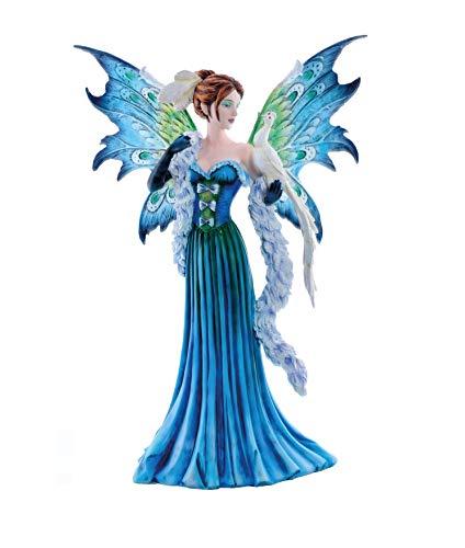 Les Alpes Orig. Fata Livi in Un Bellissimo Abito Blu con Pavone, Collezione Fairy Land, Altezza 48 cm - Statuetta Figura Dipinta a Mano - 052 10209