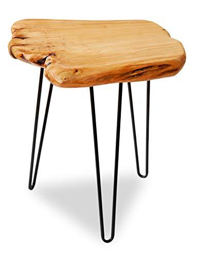 FRANKYSTAR Tavolino da caffè Design Industrial in Legno di Cedro e Ferro battuto con Bordi al Taglio Vivo Ideale per Salotto Vintage.