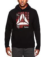 Reebok Men's Performance Pullover Hoodie - Graphic Hooded Activewear Sweatshirt - Black Defeated, Medium
