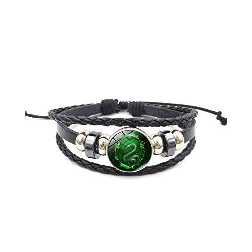 Multi-Layer-Lederarmband, geflochtene Wrap-Stulpearmband, Magic School Salazar Slytherin Glass Buckle Charm Bracelet Fashion Jewelry Handmade DIY Multilayer Weave Mens Leather Bracelets XL1572