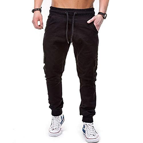 N\P Los hombres bolsillos laterales pantalones cargo casual masculino Tatical Joggers pantalones pantalones casuales