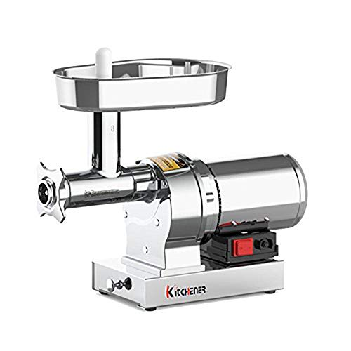 Kitchener Elite Electric Meat Grinder & Sausage Stuffer #8 1/2 HP 480 LBS Per/Hr 370 Watts Super Heavy Duty Stainless Steel Body Commercial Grade Stainless Steel Cutlery Feeding Tray & Neck