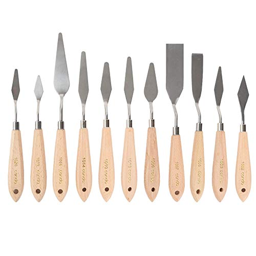 CONDA 11 Piece Stainless Steel Spatula Palette Knife Professional Palette Knife Painting Wood Handle