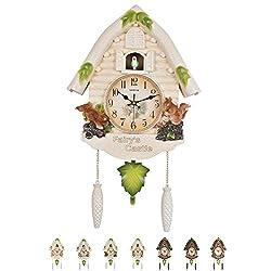 NANANA Cuckoo Clock Black Forest Antique, Clock Quartz Pendulum Wall Clock Home Decor,60X36cm,#3