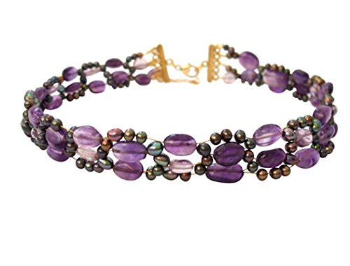 Gemshine - Damen - Halskette - Collier - Amethyst - Perlen - Vergoldet - Violett - Lila