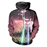 Ken-Rostisy Galaxy Uomo Spazio Spazio 3D Felpa Flash Light Cat Felpe con Cappuccio Cappotti Tute Galaxy Space Cat Fla 4XL
