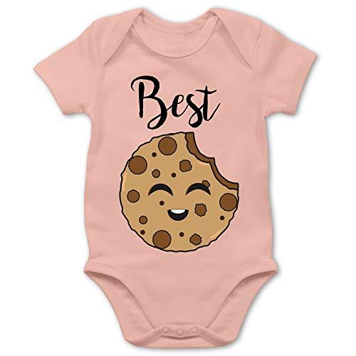Partner-Look Familie Baby - Best Friends Cookies - Best - 1/3 Monate - Babyrosa - Baby Body Kurzarm - BZ10 - Baby Body Kurzarm für Jungen und Mädchen