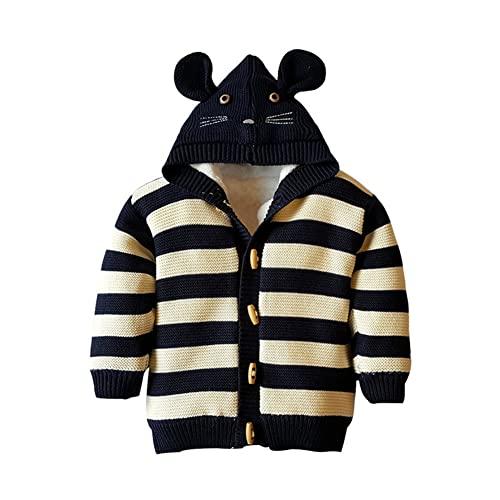 Mud Kingdom Baby Boys Sweaters Striped Fleece Rabbit Hooded Knit Cardigan Navy Blue 12 Months