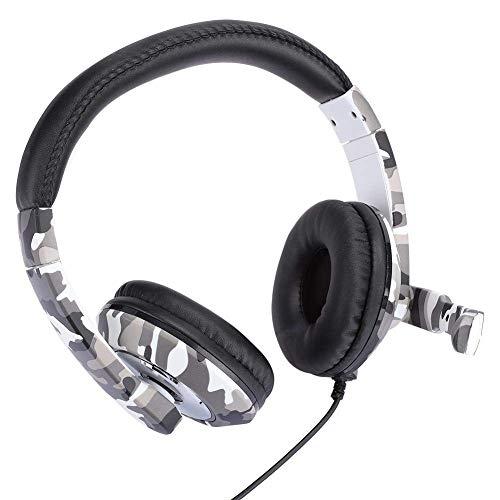 PC-Gaming-Kopfhörer, 3,5-mm-Stecker Ergonomischer Headset für Headset-Geräuschisolierung Gaming-Kopfhörer für PS4, PC usw. - Weiße Tarnung