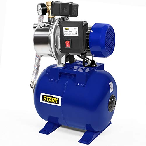 XtremepowerUS Industrial 1.5HP Shallow Pressurized Booster System Well Pump Tank Irrigation Garden Pump Stainless Steel