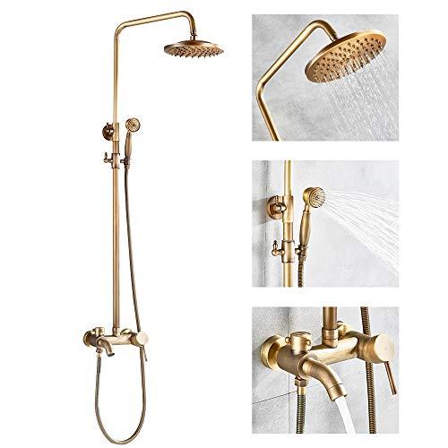 Rozin Retro Duschset Regendusche Duschsystem mit Handbrause Badewanne Auslauf Antik Messing Duschsystem Höhenverstellbar 80~120cm