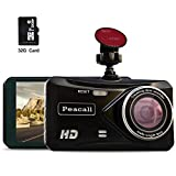 Peacall 4 Inch IPS Screen Dash Cam, Extra USB Charging Port for Phone and Other Device, Included 32G TF Card, 1080P Full HD, Wide Angle, G-Sensor, WDR, Night Vision, Parking Monitor, Loop Recording