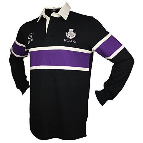 0167925e3dd LIVE FOR RUGBY Scotland Navy Rugby Shirt Purple Stripe Long Sleeve
