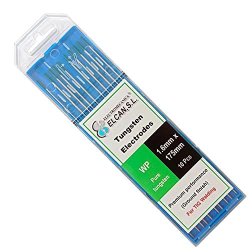 ELCAN Tungstenos soldadura TIG Puro Verde WP profesional, electrodos soldadura para torcha TIG de 1,0 1,6 2,0 2,4 3,2 mm, 10 unidades - Dimensiones: 1,6 x 175 mm