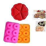 Molde de silicona YFOX, 2 moldes de donuts, 1 molde para gofres, bandeja antiadherente, silicona de calidad alimentaria, sin BPA, se pueden utilizar en hornos, microondas y frigoríficos.