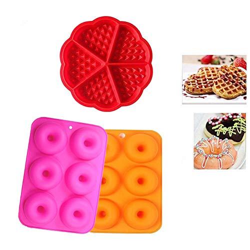 YFOX Molde de silicona, 2 moldes para donuts, 1 molde para gofres, sartén antiadherente, silicona de calidad alimentaria, sin BPA, se puede utilizar en hornos, microondas y frigoríficos.