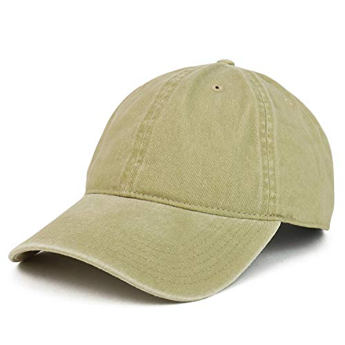Armycrew XXL Oversize Big Washed Cotton Pigment Dyed Unstructured Baseball Cap - Khaki