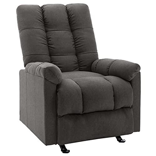 Tidyard Silla reclinable Sillón reclinable butaca Sillones y chaises Longues de Tela Gris Oscuro 71,5 x 96,5 x 100,5 cm