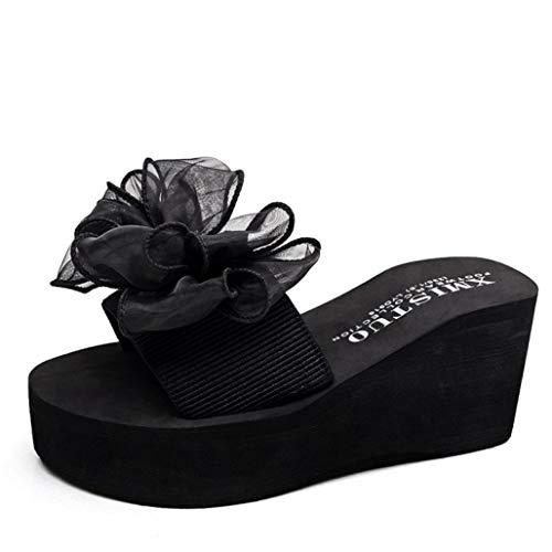 Sandales à Talons compensés pour Femmes, Sandales à Fleurs, Bout Ouvert