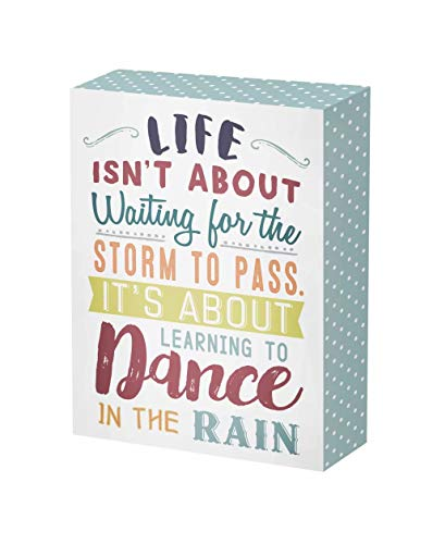 SANY DAYO HOME 7 x 5 inches Colorful Wooden Box Sign with Inspirational Saying for Home and Office Decor - Life Isn't About Waiting for The Storm to Pass, It's About Learning to Dance in The Rain