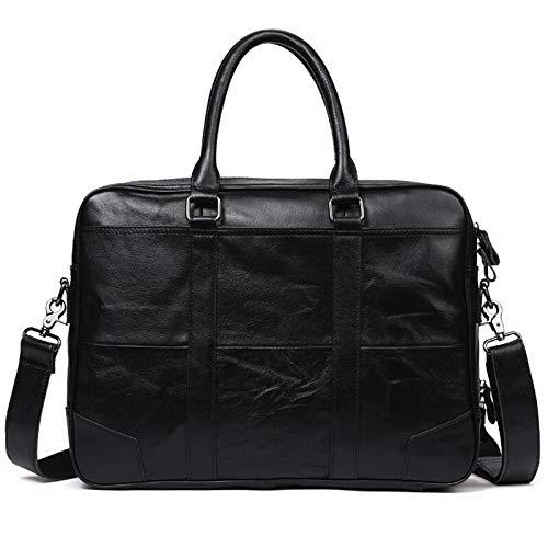 T-ara The New Vintage Black Coffee Echt Leather Men Briefcase Messenger Bags Portfolio 14'' Laptop Business Men's Office Bag Essential for hiking (Color : Black, Size : 40 * 30 * 9cm)