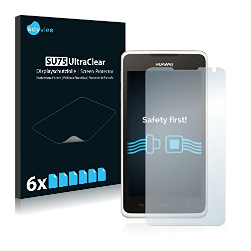 Savvies 6X Schutzfolie kompatibel mit Huawei Ascend Y530 Bildschirmschutz-Folie Ultra-transparent