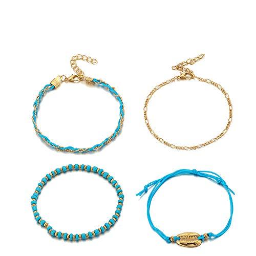 U/N Bohemian Beaded Ankle Bracelets Set Multilayer Sea Shell Charm Knitted Bracelets Women Anklet Foot Jewelry Gift 4Pcs