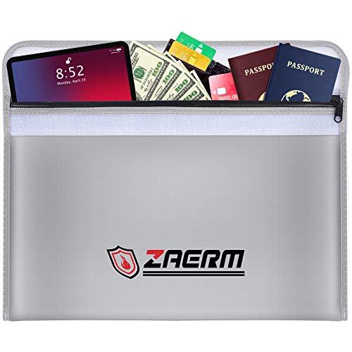 ZAERM Bolsa ignífuga para documentos, 40 x 28 cm, resistente al fuego, impermeable, resistente al fuego, para documentos A4, pasaporte, dinero, objetos de valor