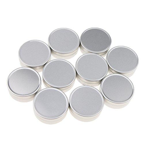 Sharplace 10 Pcs 10ML/15Ml Boîte à Baume Nail Art Pot de Crème Cosmétique Make Up Rouge à Lèvres Boîtier en Aluminium - argent, B-10ML-4 x 1,4 cm