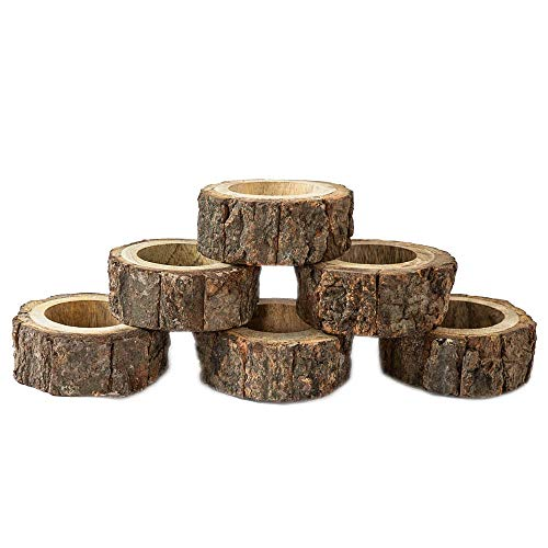 Nirvana Class Handcrafted Rustic Wooden Napkin Rings Set of 6 for Wedding Party Decoration