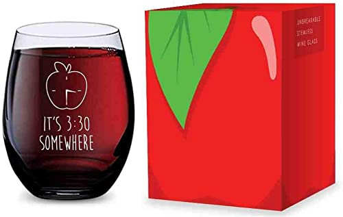2021 Stemless Wine Glass for Teachers (Its 3:30 Somewhere) Made popular of Unbreakable popular Tritan Plastic - 16 ounces online