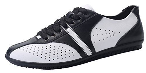 QYY-1561 New Mens Casual Leather Lace-up Driving Work Smart Shoes White 41 EU
